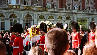 Royal Standard of the United Kingdom - Funeral carriage of Diana, Princess of Wales, with the coffin draped with an ermine-bordered standard.