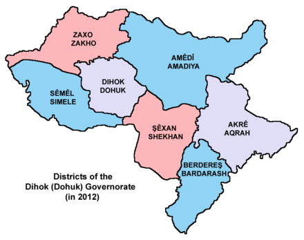 Districts of Dohuk Governorate (as of 2012) Dihok governorate 2012.png