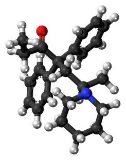 Dipipanone molecule ball.png