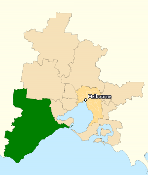 Division of Corangamite - Division of Corangamite in Victoria, as of the 2016 federal election.