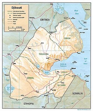 Wildlife of Djibouti - Image: Djibouti Map