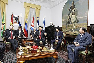 Economic policy of the Hugo Chávez administration - Dmitry Medvedev, Hugo Chávez, Evo Morales, and Daniel Ortega met to discuss the proposed regional economic bloc known as ALBA on 27 November 2008.