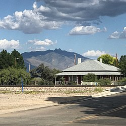 View of Dos Cabezas peaks from downtown Willcox