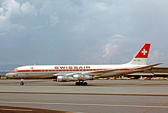 Zürich Airport - A Swissair Douglas DC-8 at Zürich Airport in 1965