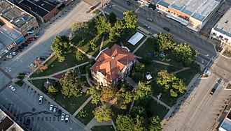 Harrison, Arkansas - Aerial view of Downtown Harrison.  The Courthouse Square located in the National Historic District.