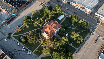 Aerial view of Downtown Harrison. The Courthouse Square located in the National Historic District. Downtown Harrison, AR Courthouse Square.jpg