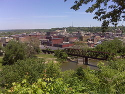 The view of downtown Zanesville from Putnam Hill Park