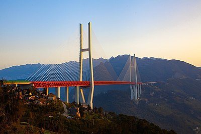 The Duge Bridge is the highest bridge in the world. Duge Bridge.jpg
