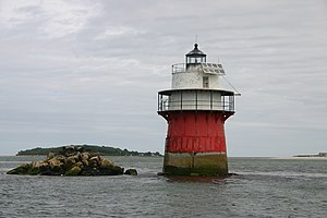 Duxbury Pier Light - Duxbury Pier lighthouse in Plymouth Harbor