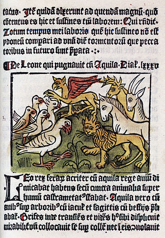 Johann Snell - Page from Dialogus creaturarum, the first book printed in Sweden, by Johann Snell in 1483