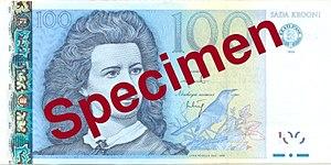 100 krooni - Obverse of the 100 krooni banknote
