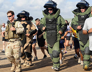 Camp Lemonnier - CJTF-HOA soldiers taking part in the 2011 Explosive Ordnance Disposal 5-K Run at Camp Lemonnier.