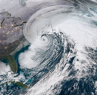 Nor'easter - Satellite image of the intense nor'easter responsible for the January 2018 North American blizzard. Note the hurricane-like eye at the center.