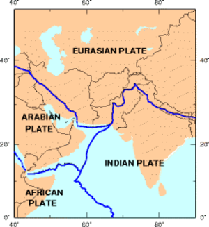 Iranian Plateau - Closeup of the boundaries with the Eurasian, Arabian and Indian plates.