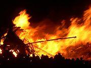 A Viking longship being burnt during Edinburgh's annual Hogmanay celebrations.