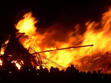 A Viking longship being burnt during Edinburgh's annual Hogmanay celebrations. Edinburgh Hogmanay Longship.jpg