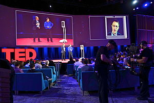 Telepresence - American exile Edward Snowden participates in a TED talk in Texas from Russia via telepresence robot, March 2014
