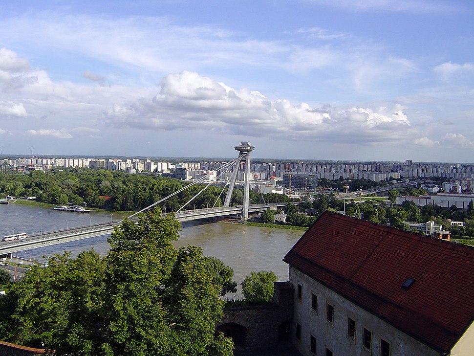 Rieka Dunaj, pohľad na Most SNP v Bratislave