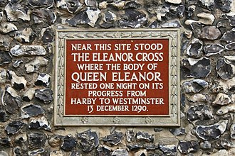 Clock Tower, St Albans - The plaque affixed to the front face of the Clock Tower highlighting the site of the Eleanor Cross.