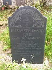 gravestone with inscription to Elizabeth David