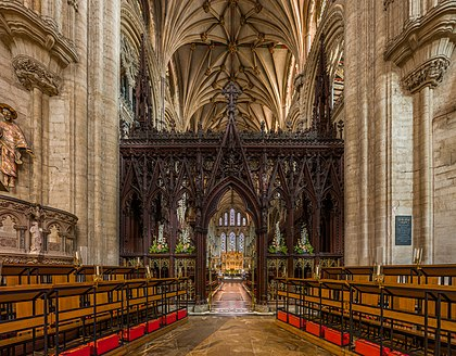 The rood screen viewed from the nave Ely Cathedral Rood Screen, Cambridgeshire, UK - Diliff.jpg