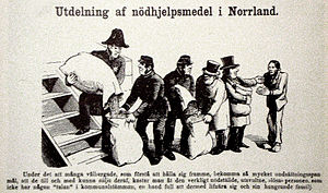 Famine of 1866–68 - Caricature from the paper Fäderneslandet 14 December 1867, criticizing the unjust distribution of the relief help committees: the relief help are given first to county governor, and are thereafter given first to the wealthy officials and rich farmers and last, when only an handful is left, to the poor people truly in need.