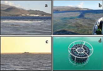 2011–12 El Hierro eruption - Effects observed in the surface waters as a consequence of the volcanic emissions of Tagoro submarine volcano near El Hierro. (a) Surface seawater bubbling (5 November 2011). (b) Colour patches in the surface waters. (c) A 10-metre high bubble (5 November 2011). (d) Light green seawater surface.