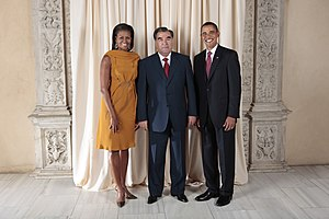 Corruption in Tajikistan - President Emomali Rakhmon with President Barack Obama and wife Michelle Obama