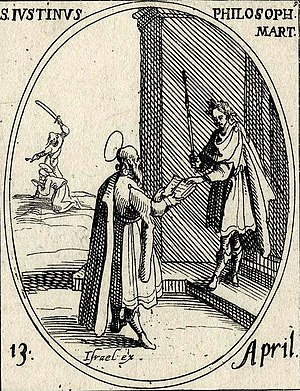 Justin Martyr - A bearded Justin Martyr presenting an open book to a Roman emperor. Engraving by Jacques Callot.