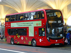 London Buses route 69 - Tower Transit Alexander Dennis Enviro400 MMC at Stratford bus station in December 2015