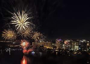 Lake Eola Park - Fourth of July fireworks