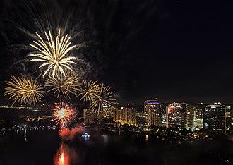 Lake Eola Park - Fourth of July fireworks