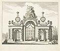 Erepoort op het Buitenhof voor de intrede van Willem V en Wilhelmina van Pruisen, 1767, RP-P-1944-2061.jpg
