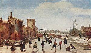 History of figure skating - hambugerl scene of ice skating, painted by Esaias van de Velde