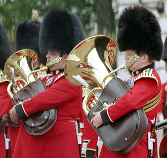 Euphonium - A euphonium (left) and tuba (right), the two lowest conical-bore instruments
