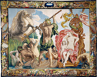 Baroque design by Jacob Jordaens, Creation of the Horse, from an equine series, woven in wool, silk, gold and silver, Brussels, 1650s Everard Leyniers 001.jpg