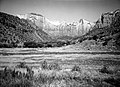 Exhibit material- scenic view, Oak Creek Canyon from patio of Visitor Center. ; ZION Museum and Archives Image ZION 8800 ; ZION (8e4f092ea8394a6aa1e81773d105d828).jpg