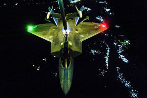 American-led intervention in the Syrian Civil War - An F-22 Raptor being refueled prior to an airstrike on ISIL targets in Syria