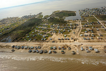 Aerial view of damaged coastal property on the Bolivar Peninsula.