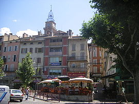 The clock tower and surrounding buildings in Digne-les-Bains