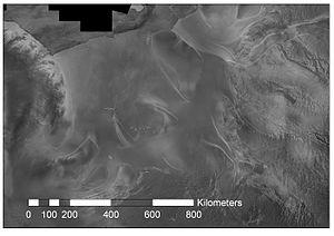 Ice stream - Radarsat image of ice streams flowing into the Filchner-Ronne Ice Shelf.