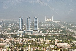 Faisal Mosque in the background of Centaurus Mall.jpg