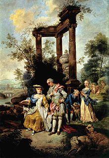 Familie Goethe in Schäfertracht, Catharina Elisabeth ganz links (Johann Conrad Seekatz 1762) (Quelle: Wikimedia)