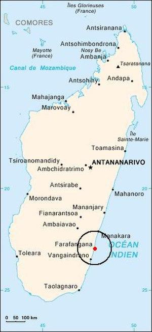Farafangana - Location of Farafangana