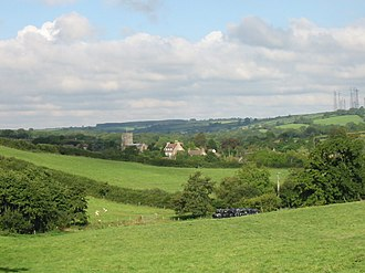 Toller Porcorum - Image: Farmland and church, Toller Porcorum geograph.org.uk 126332
