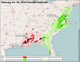 Rappahannock Power Outage Map.Tornado Outbreak Of February 23 24 2016 Wikipedia