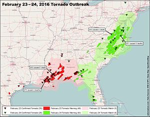 Tornado outbreak of February 23–24, 2016 - Map of all the watches, warnings and confirmed tornadoes during the outbreak on February 23–24