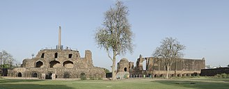 Feroz Shah Kotla - Feroz Shah Kotla Panorama, with Ashokan Pillar (left) and Jami Masjid (right)