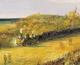 Inauguración del ferrocarril a Langreo. Cuadro de Jenaro Pérez Villamil. 1852