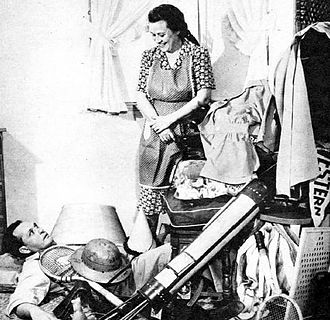 "Fibber McGee and Molly - Photo of ""the Closet""; the actual on-the-air sound was done by sound effects men."
